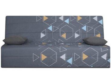 OPS 100% FRANCAIS - Banquette clic-clac 3 places SPLOT - Tissu Poly Gris - L 190 x 95 cm