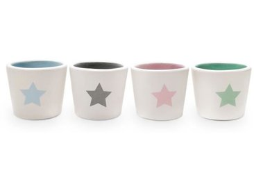 YOKO DESIGN Set de 4 coquetiers Star en céramique blanc