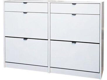 KLAKET 6 Meuble à chaussures style contemporain blanc brillant - L 124 cm