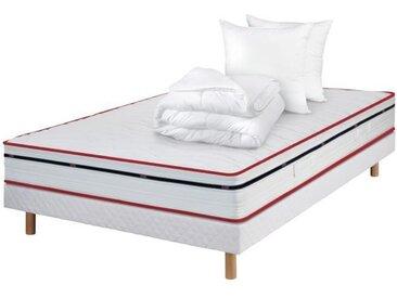 DODO STONA Pack Complet Matelas 140x190 + sommier + couette et oreillers - 570 Ressorts ensachés - 5 zones - 20 cm