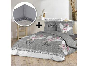 DOUCEUR D'INTERIEUR Pack ANGEL CAT 100% coton - Parure de couette 140x200 cm + drap housse 90x190 cm - Gris et blanc