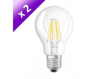 OSRAM Lot de 2 Ampoules filament LED E27 6 W équivalent à 60 W blanc chaud