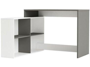 NAGANO Bureau d'angle contemporain blanc et gris graphite - L 111,9 cm