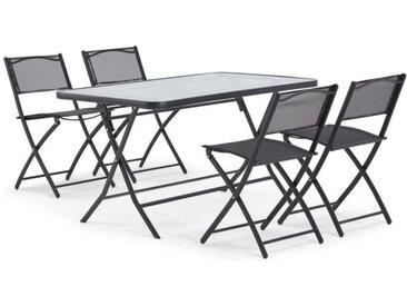 Table de jardin + 4 chaises - En acier et verre - Chaises pliantes - Coloris : noir