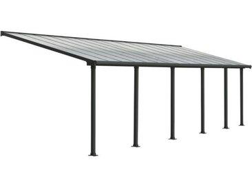 Pergola adossée Olympia 25,5 m² - Aluminium et polycarbonate - Gris - PALRAM