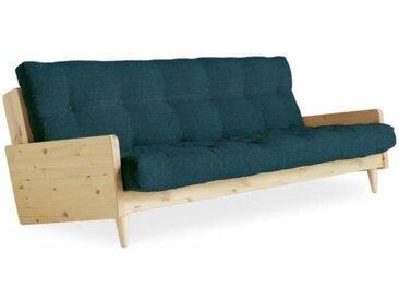 Canapé 3/4 places convertible INDIE style scandinave futon bleu profond couchage 130*190 cm. bleu Coton Inside75