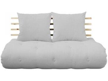 Canapé lit futon SHIN SANO gris clair et pin massif couchage 140*200 cm. gris Tissu Inside75