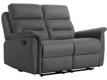 NAPA Canapé relaxation Manuel 2 places - Simili gris microfibre grise - L 154 x P 98 x H 99 cm