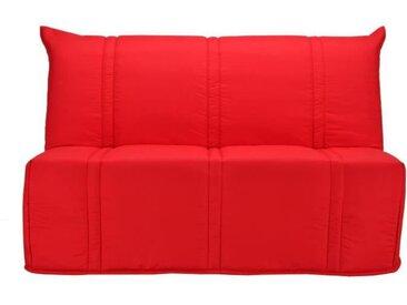 Banquette BZ 3 places matelas Bultex - Tissu Rouge - L 143 x P 101 x P 95 cm - SANNA