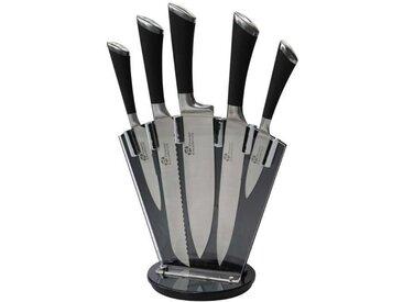 PRADEL Bloc de 5 couteaux Excellence - Lames en acier inoxydable et support plexiglas - Noir