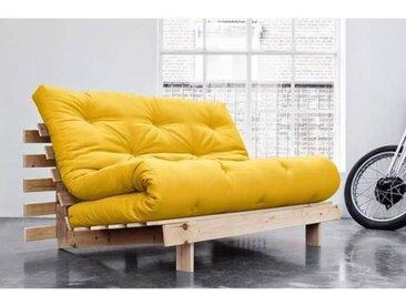 Canapé convertible futon ROOTS pin naturel coloris jaune couchage 140*200 cm. jaune Tissu Inside75