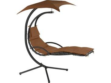 TECTAKE Fauteuil Suspendu avec Pare-Soleil et Support en Acier 195 cm x 118 cm x 202 cm Marron