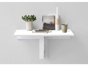 ARTA Table à manger pliante 1 personne classique décor blanc brillant - L 80 x l 51 cm