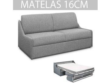 Canapé lit ESPRESSO rapido compact 120cm matelas 16cm tissu tweed gris clair gris tissu Inside75