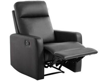 RICK Fauteuil de relaxation manuel - Simili noir - Classique - L 76 x P 88 cm