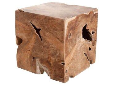 SIDNEY Tabouret cube en teck marron