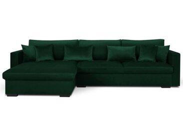 MALMA Canapé d'angle réversible 5 places - Velours vert forêt - Classique - L 290 x P 103-173 cm