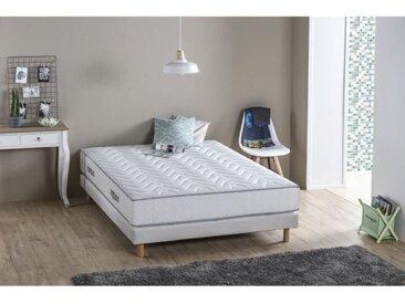 DEKO DREAM Ensemble MAINE matelas + sommier 140 x 190 - Confort ferme - 5 zones de confort