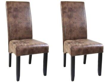 CUBA Lot de 2 chaises de salle à manger - Tissu marron - Style contemporain - L 48 x P 64 cm