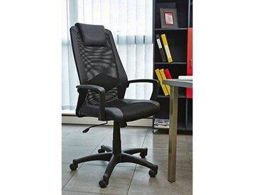 HUGO Fauteuil de bureau réglable - Simili noir - L 68x p 66 x H 107/116 cm