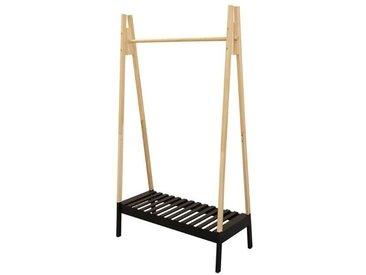THE HOME DECO FACTORY Portant à vêtement en bois - 100 x 46 x 170 cm - Noir