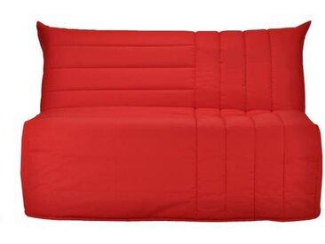 Banquette BZ 3 places matelas Bultex - Tissu rouge - L 142 x P 101 cm - BECCI