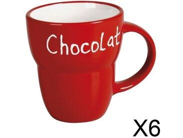 """Lot 6 Mugs céramique """"Chocolat"""" ROUGE Grand Modèle"""