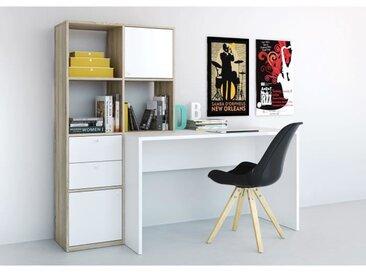 FUNCTION Bureau modulable + bibliothèque - Décor chêne Sonoma et blanc - L 151 cm