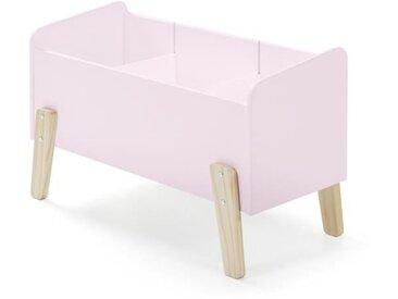 KIDDY Coffre à jouets scandinave en bois pin massif vieux rose - L 80 cm