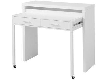 CITIZ Bureau extensible contemporain en MDF mélaminé blanc et métal laqué blanc - L 110 cm
