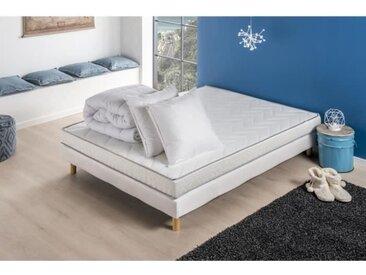 Pack prêt à dormir ESSENTIEL - Matelas + sommier 140x190 + couette + 2 oreillers DEKO DREAM