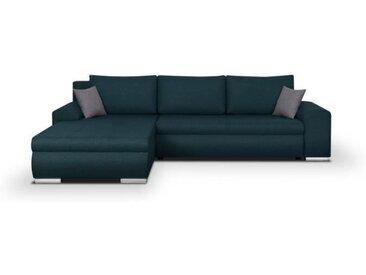 Canapé d'angle convertible réversible + coffre de rangement - Tissu Bleu - L 289 x P 94/188 x H 88 cm - INDIAN