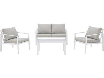Salon de jardin FIRA - En Aluminium - 4 personnes avec coussins
