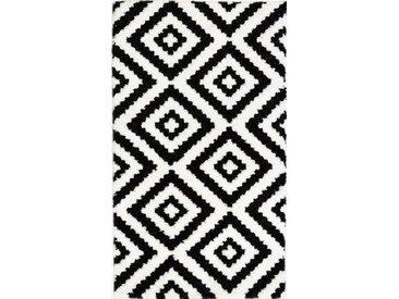 TAVLA Tapis de couloir moderne - 50  x  80 cm - 100% polypropylène frisée - Noir