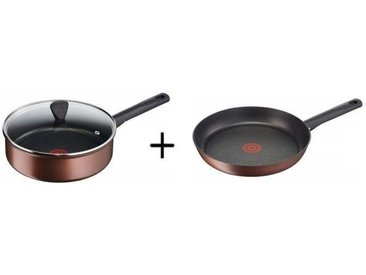 TEFAL G1083202 Resource Sauteuse 24 cm avec couvercle Induction + G1080402 Resource Poêle 24 cm  Marron Induction - Tous feux