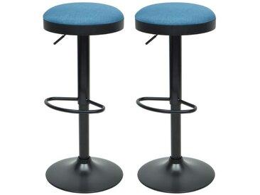 GASOLINE Lot de 2 tabourets de bar - Tissu bleu - Classique - L 38,5 x P 38,5 cm