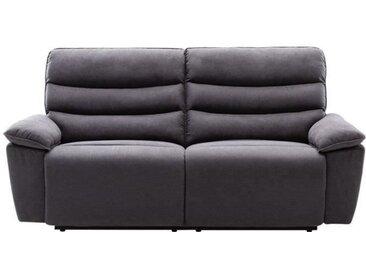 BLAKE Canapé 3 places relax électrique - Tissu gris - L 206 x P 96 x H 100 cm