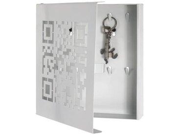Boîte à Clés en métal laqué blanc - 22 x 5 x 24 cm