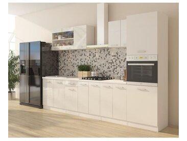 ULTRA Cuisine complète avec colonne four et plan de travail inclus L 300 cm - Blanc brillant