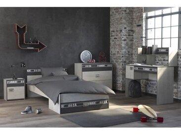 NOA Chambre enfant complète - Industriel - Décor gris loft et ombre - l 90 x L 200 cm