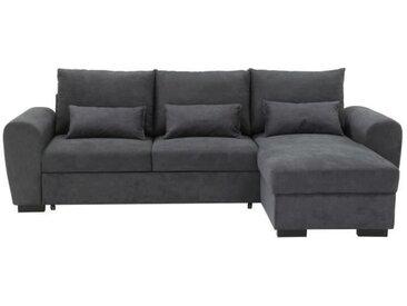 Canapé d'angle convertible réversible + coffre de rangement - Tissu gris - L 240 X P 144 x 80 cm - LEO