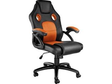 TECTAKE Chaise de Bureau Design Gamer Mike - Confortable - Hauteur Réglable - Inclinable - Pivotante - Noir Orange