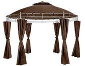 TECTAKE Tonnelle de Jardin Ronde avec Panneaux Latéraux 4 Piliers en Métal 3,5 m x 2,8 m Marron