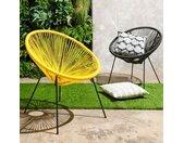 Lot de 2 fauteuils de jardin - 70 x 76 x 79 cm - Résine tressée - Oviala - Jaune