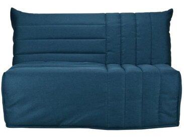 Banquette BZ 3 places matelas Bultex - Tissu Bleu canard- L 142 x P 101 x H 95 - BETH