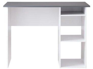 COMPO Bureau droit classique décor gris et blanc - L 101 cm