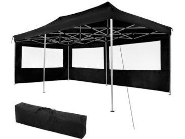 TECTAKE Tonnelle de Jardin Terrasse Pliante Autoportée Réglable 6 x 3 m Structure en Aluminium à 2 Parois Noir + Sac de Transport