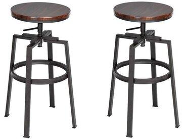 AMAT Lot de 2 tabourets de bar wengé en métal - Revêtement PVC wengé - Industriel - L 36 x P 36 cm