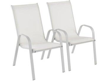 Lot de 2 fauteuils de jardin en acier assise textilène - 55 x71 x 95 cm - Gris
