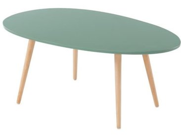 STONE Table basse ovale - Décor vert sapin - Style scandinave - L 98 x P 61 x H 39cm